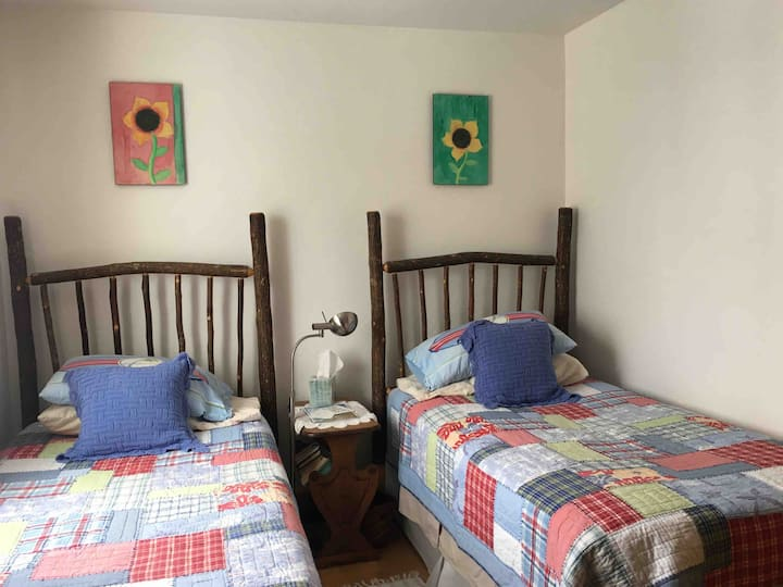 Cozy twin beds, private bath, local knowledge
