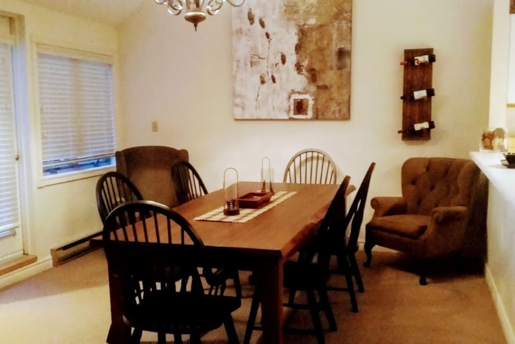 large dining room table to enjoy meals and games