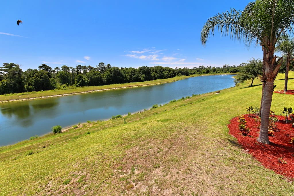 Sit on the screened lanai and start each day of your vacation sipping a cup of coffee and enjoying the private view to the lake behind this family condo unit.
