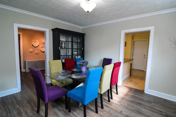 Dining Room with view of the kitchen and office