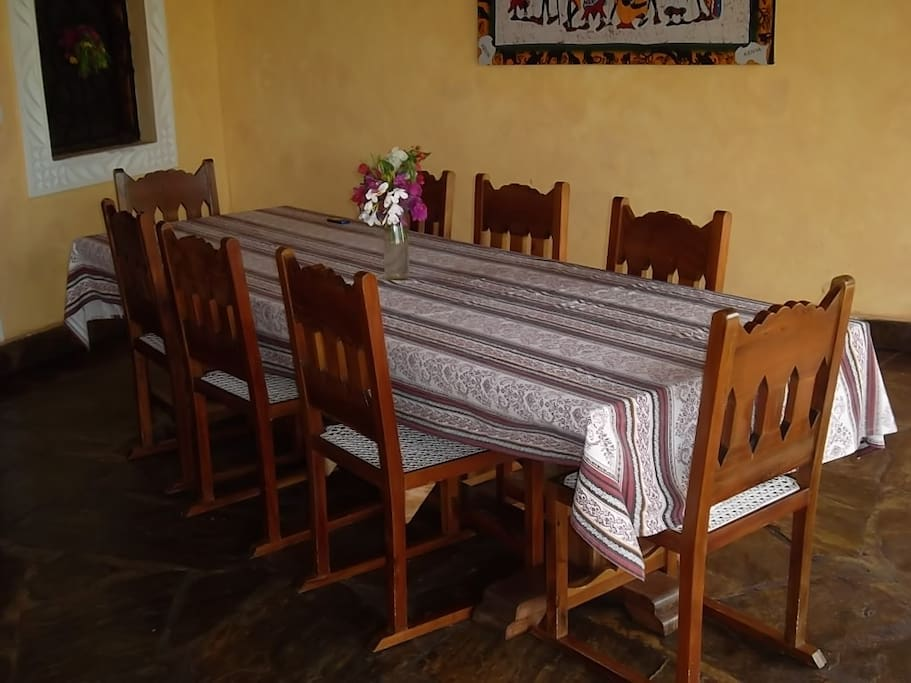 This is the dining table which is located in the patio downstairs.