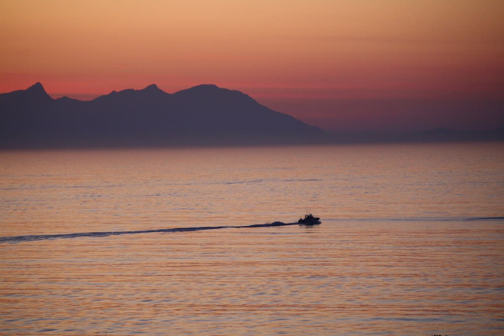 One of many fishing boats heading out to sea at sunrise - taken from the garden.