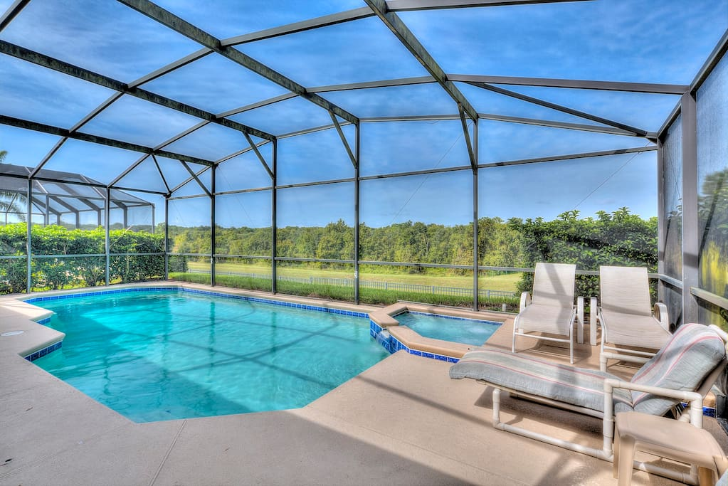 The optionally heated, private and West-facing crystal clear pool, bubbling spa and extended deck area are perfect place for your family to soak up the Florida sunshine and have fun together.