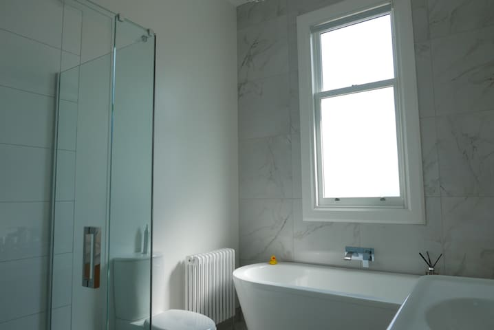The shared bathroom.  The shower has a rain shower head, as well as a normal hand-held shower head.