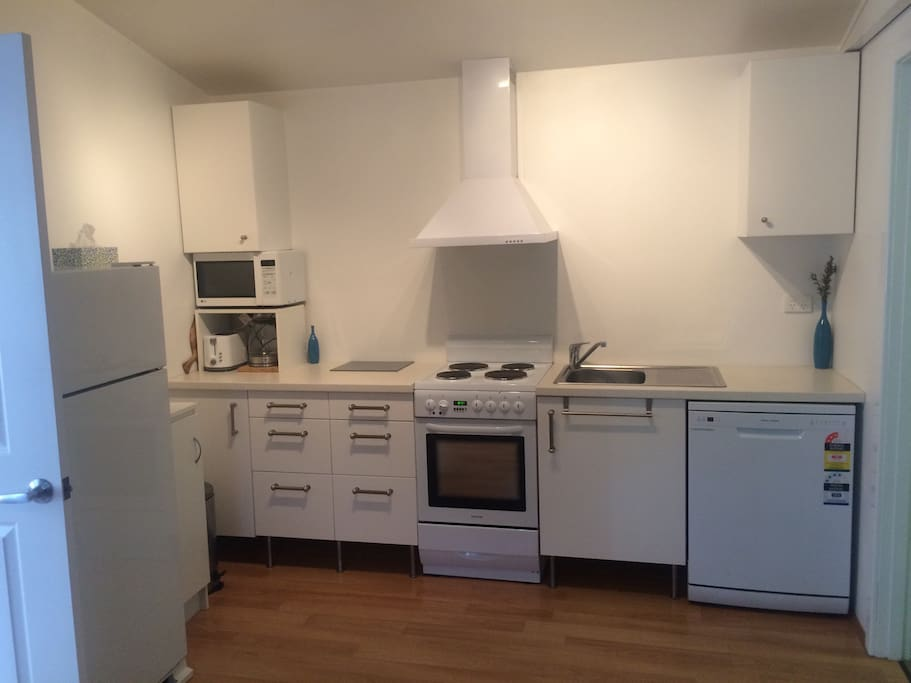 New kitchen with dishwasher, large fridge and microwave