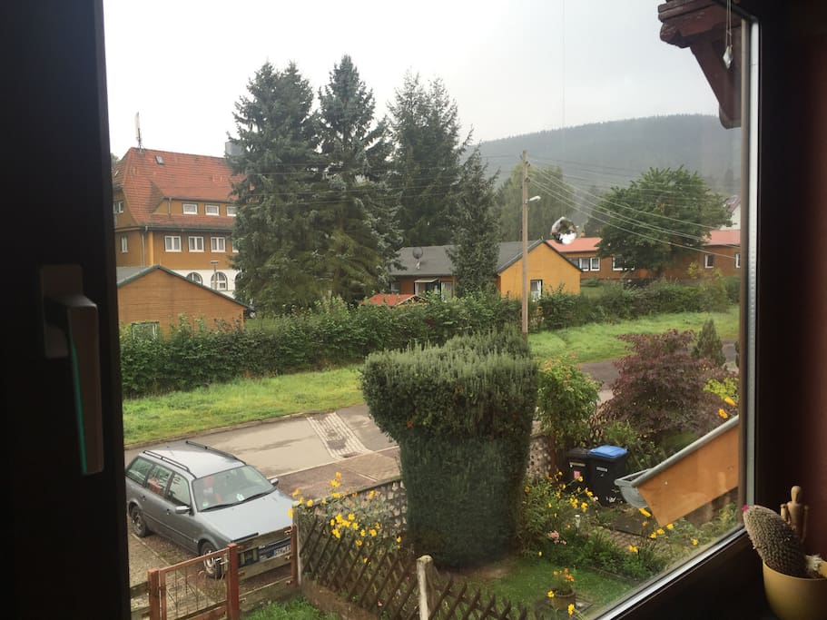 Blick aus dem Wohnzimmerfenster, mit schönen Holzjalusien