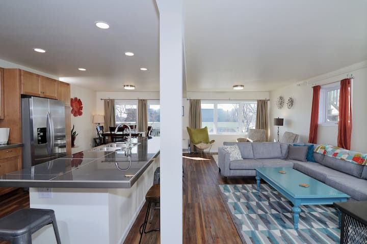Open concept Kitchen and Living room.  Tons of light and direct access to the garden.