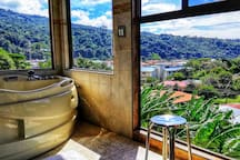 private freestanding jacuzzi in the suite with amazing view into the Boquete Valley