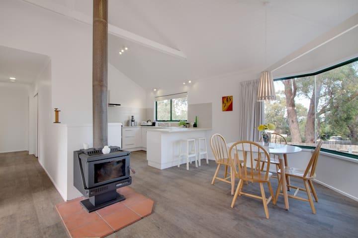 Kitchen,wood heater, dinning table