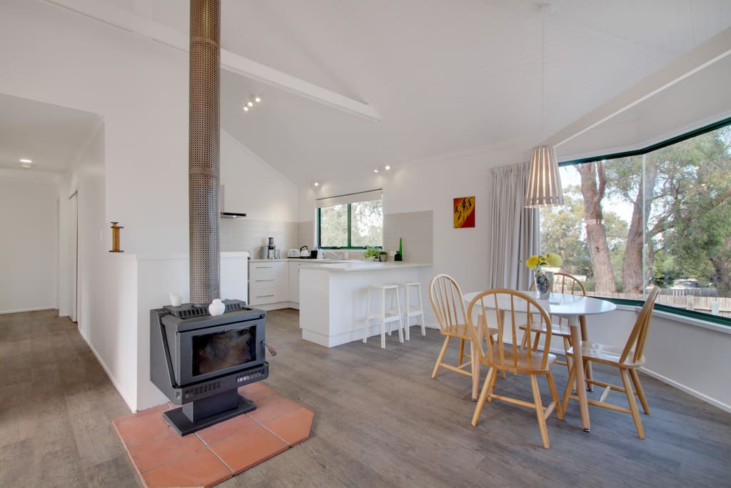Kitchen,wood heater, dinning table