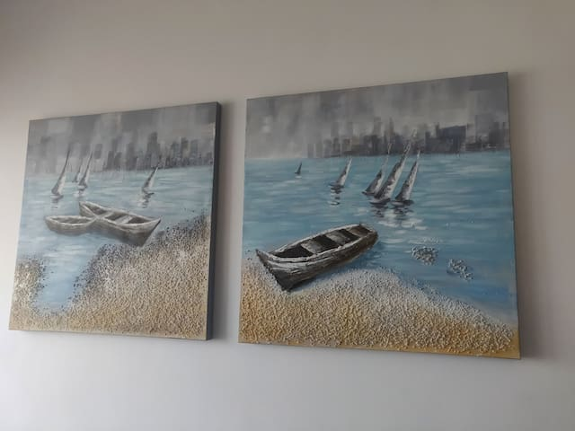 Paintings on the kitchen wall