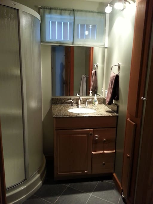3 piece bathroom with granite counter