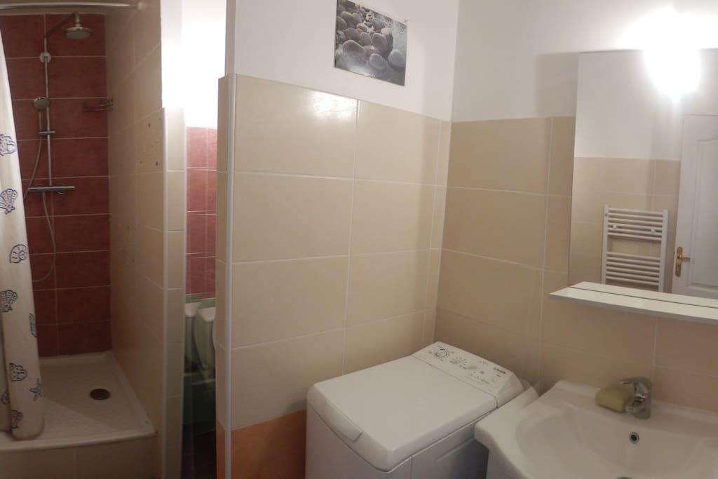 Salle de bain/ toilettes, une machine à laver.