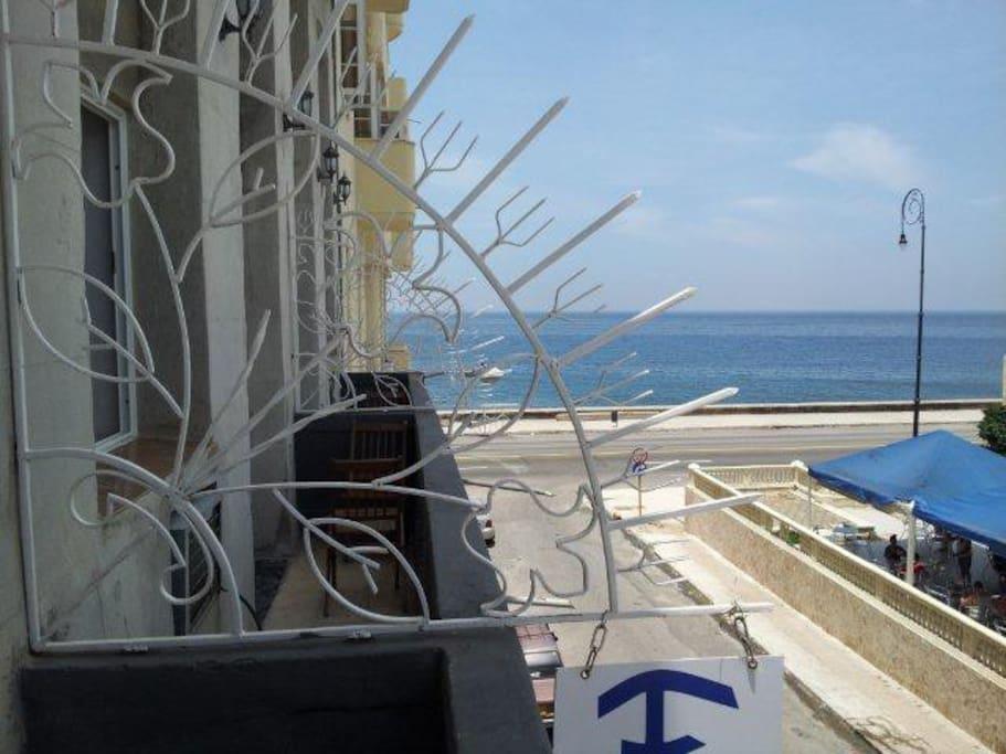 Balcony overlooking the seawall