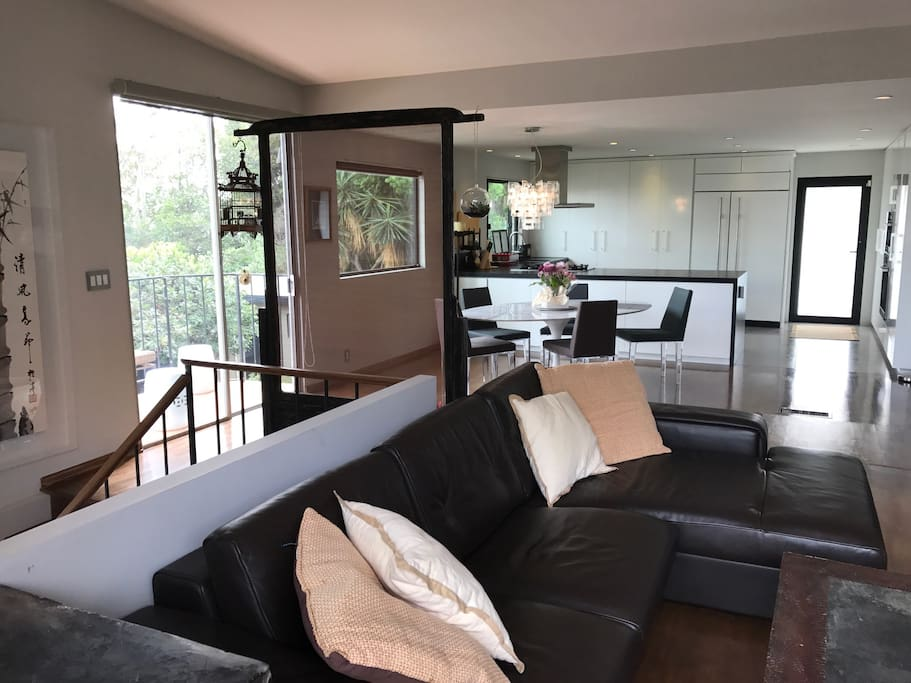 huge couch looking into kitchen