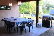 The breezeway is where friends traveling together can fire up the grill and share a meal together.
