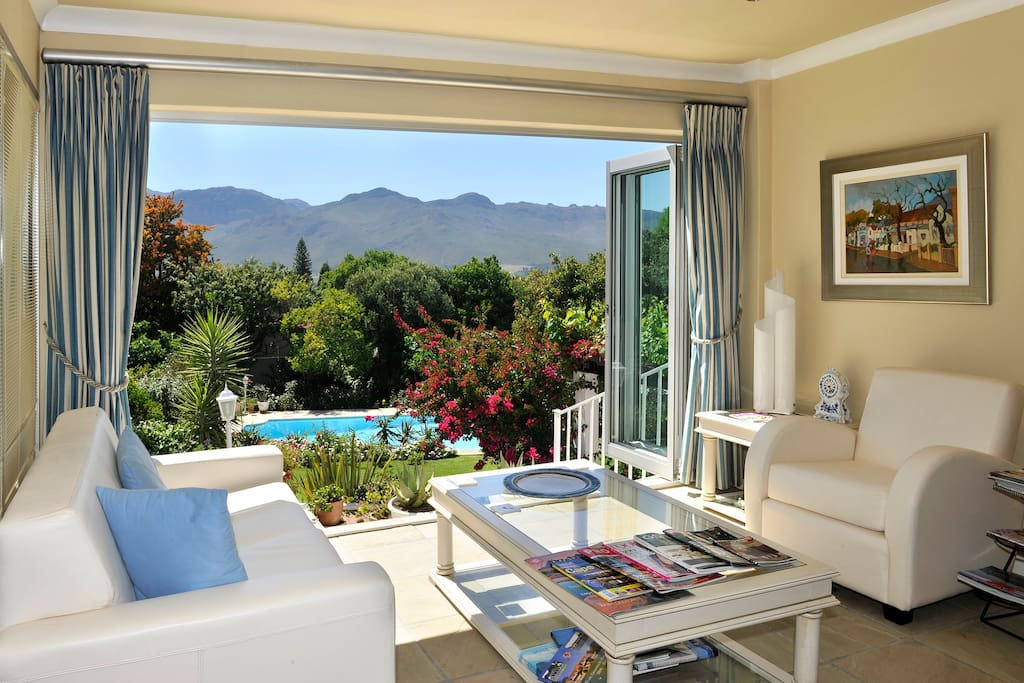 Guest Lounge at Alba House offers stunning view over the Berg River valley towards Klein Drakenstein Mountains