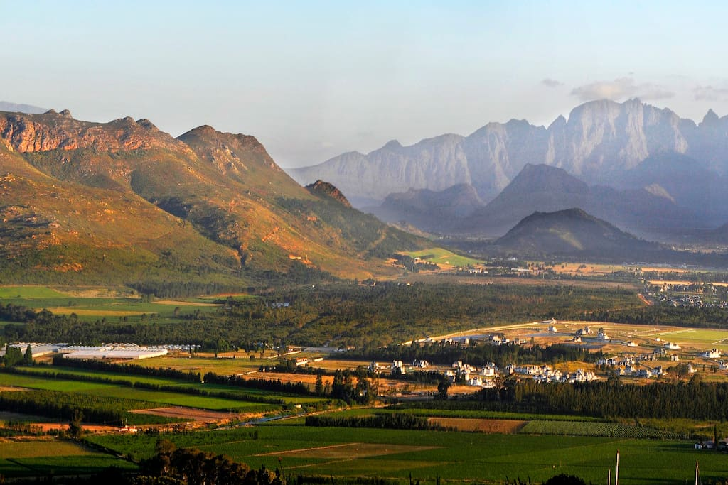 Paarl Wine farms view from Paarl Mountain Nature reservation