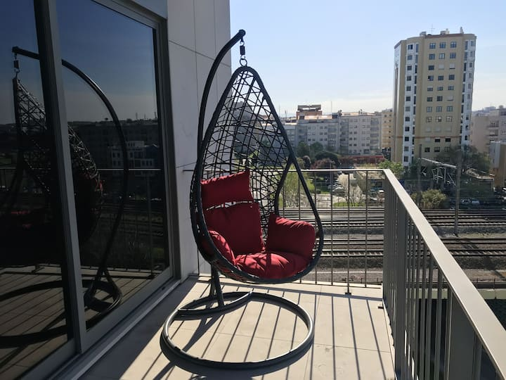 Apartment with one bedroom in Aveiro, with wonderful sea view, furnished garden and WiFi - 11 km from the beach