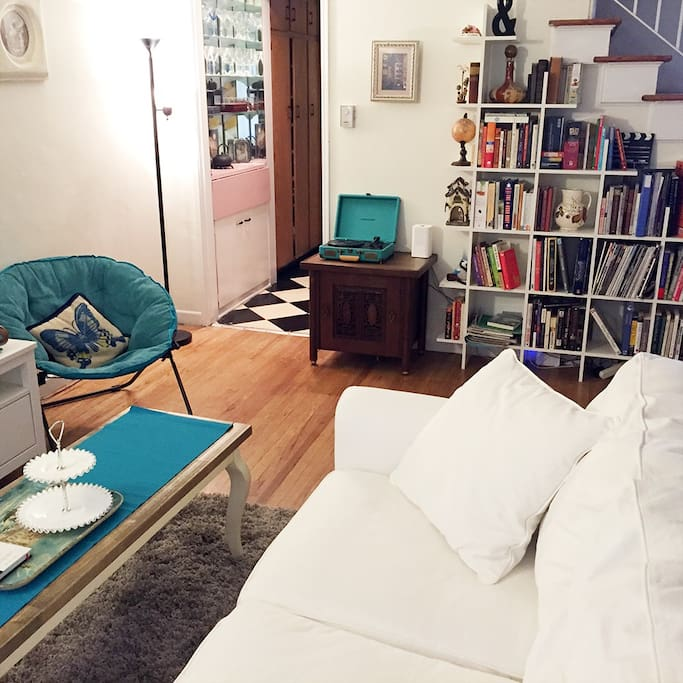 Living Room, Mini Bar, Record Player, Library