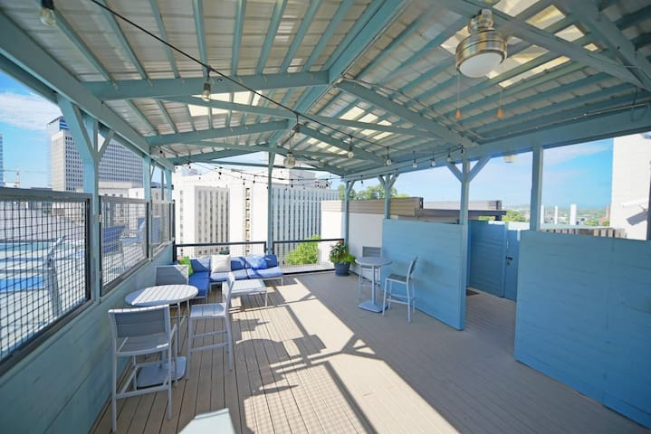Rooftop deck with an awesome view! This is beside the rooftop pool!