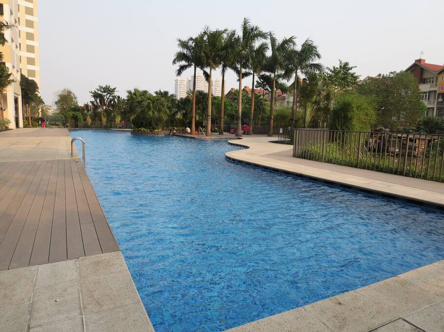 Outdoor standard swimming pool and jacuzzi