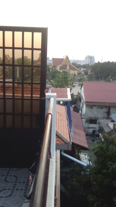 View for the Wat Botum park from the balcony with amazing sunsets