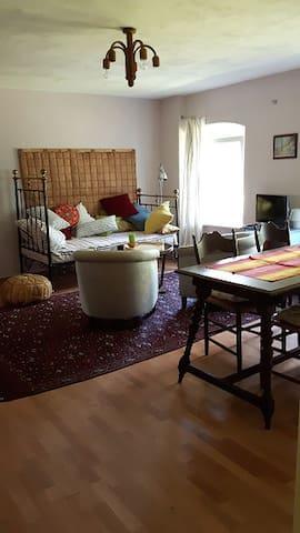 Wohnzimmer mit Kachel- und Kaminofen