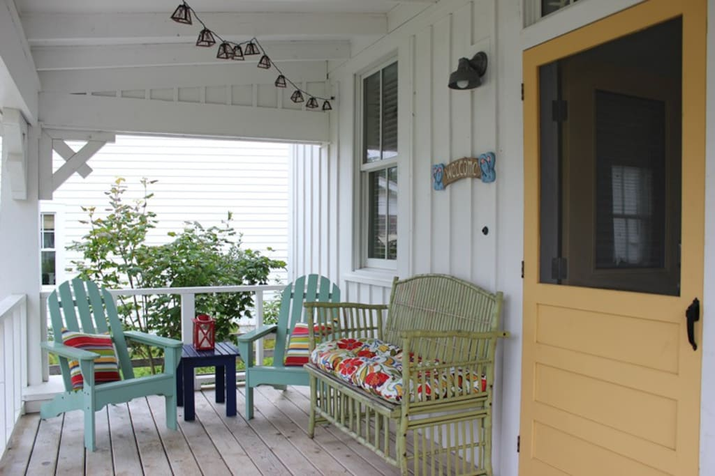 Outdoor covered porch and furnishings