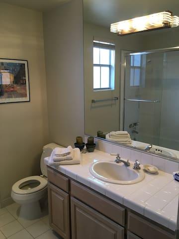All new Pristine clean bath with new fixtures, shower door...