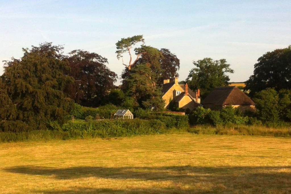 We are in a village, walking distance from pub and cafe but set in 6 acres of land