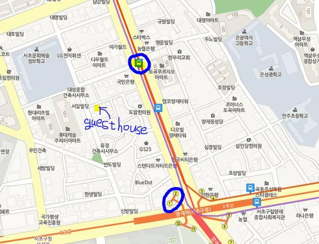 bus stop, guest house, Yangjae subway stn.