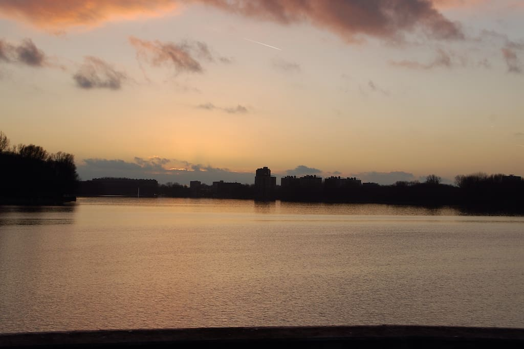 Sunset at the Sloterplas, located at 2 minutes from the house.