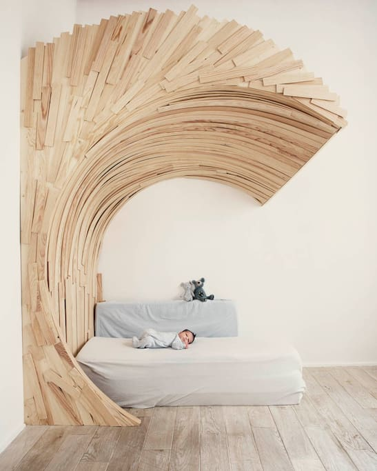 A wooden wave in the kids bedroom