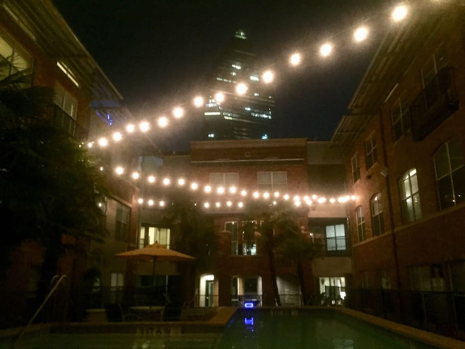 The pool view at night!