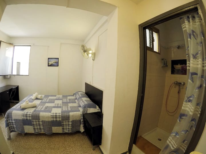 With Shower But Shared Bathroom, Double Bed