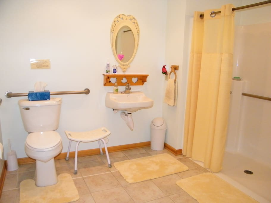 Accessible bathroom across the hall from the Rose and Daffodil Rooms at the Self Realization Meditation Healing Centre, Bath MI USA