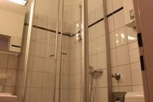 die Duschkabine ist mit Glastüren versehen die beide Richtungen (nach Inne und außen) schwenken