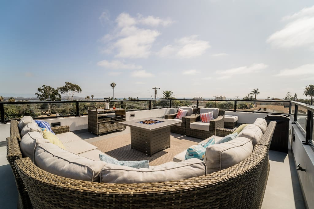 Roof top deck with fire pit
