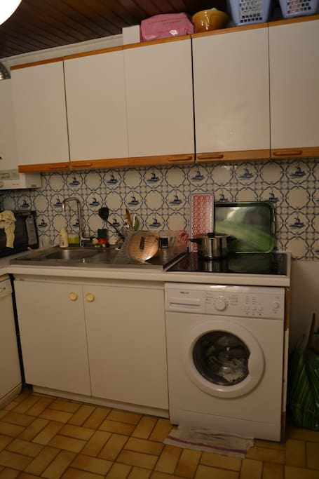 Kitchen with a small cooker, dishwasher, washing machine and fridge