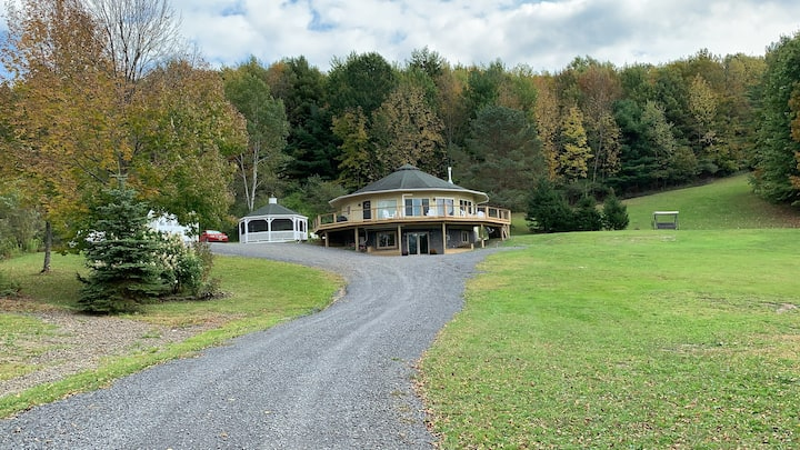 Breathtaking Cooperstown round house pond and view