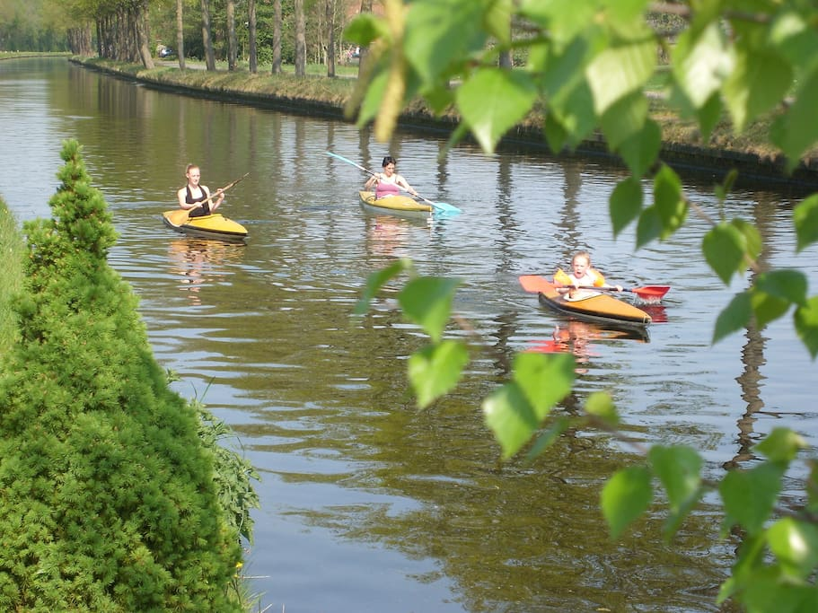 Kayaking in the canal. We have one small one for kids!