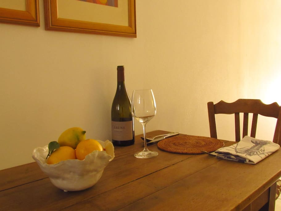 A dining table for two for a romantic meal in and a fridge to keep that essential bottle of wine cool