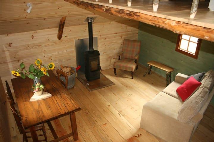 Lounge/diner, log burner, sofa bed.