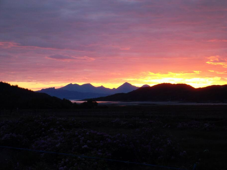 Sunset towards Rum and Eigg from Aultbea.