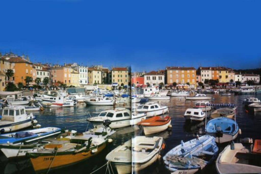 Our flat is positioned in this part of the Rovinj baywalk