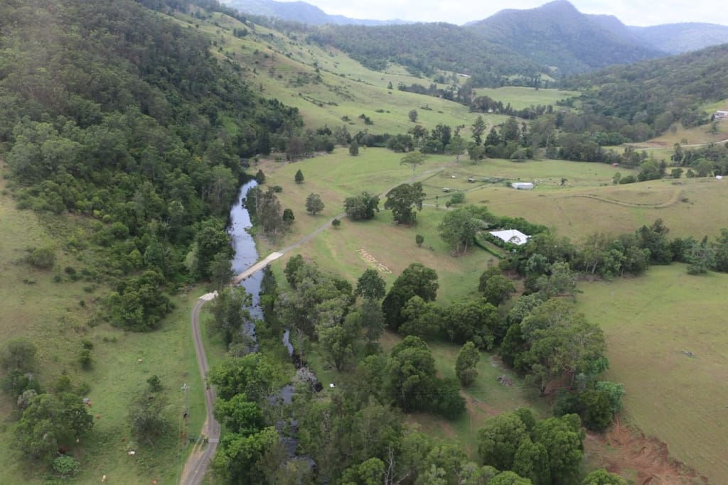 Aerial View coming into Canungra Valley Getaway