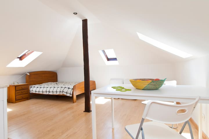 Sunny attic loft with Tagus view
