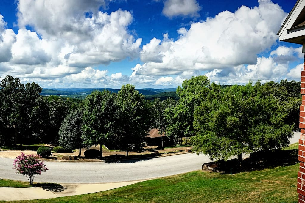 The view of the Ozark Mountains from our balcony