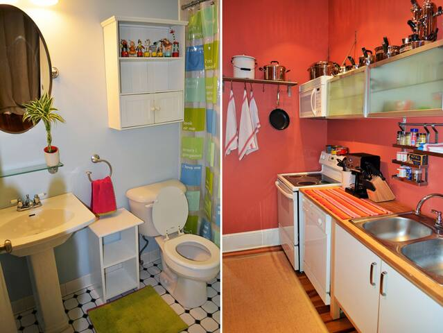 Well appointed bathroom. Full size kitchen with all the amenities of home.